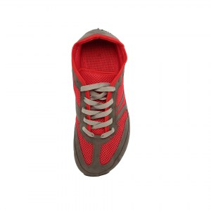 Vegan Barefoot Shoes - Vegan Explorer Red and Grey